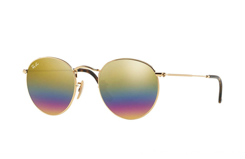 Ray-Ban ROUND MINERAL FLASH LENSES - RB3447-001-C4-53-21 - Ray Ban Black Friday Deal
